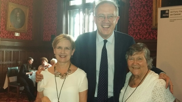 L-R - Carol McCabrey, John Baron MP and Maggie Wilcox (Indpendent Cancer Patients Voice) (640x360)
