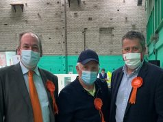 Photo shows Cllrs Owens, Clandon and Johnson after the results are announced