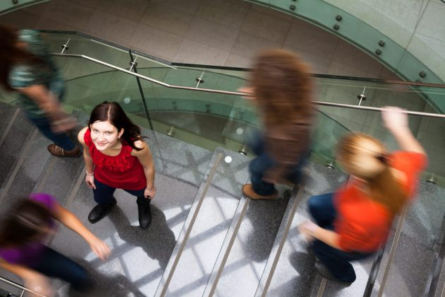 Students rushing at the university