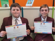 (L-R) Rainford High's Tom Keeley and George Yates won the Year 7 social enterprise competiton